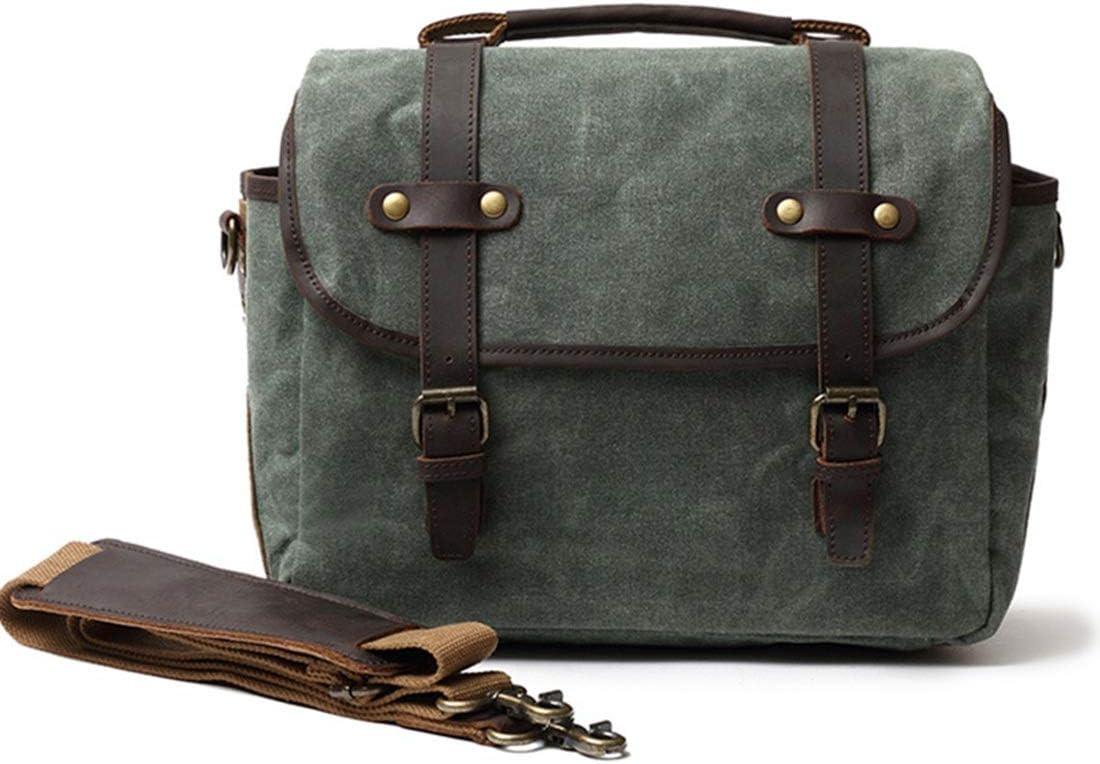 AIYAMAYA Oil Wax Canvas with Crazy Horse Leather Man Bag Waterproof Messenger Bag Retro Camera Bag Color : Lake Green