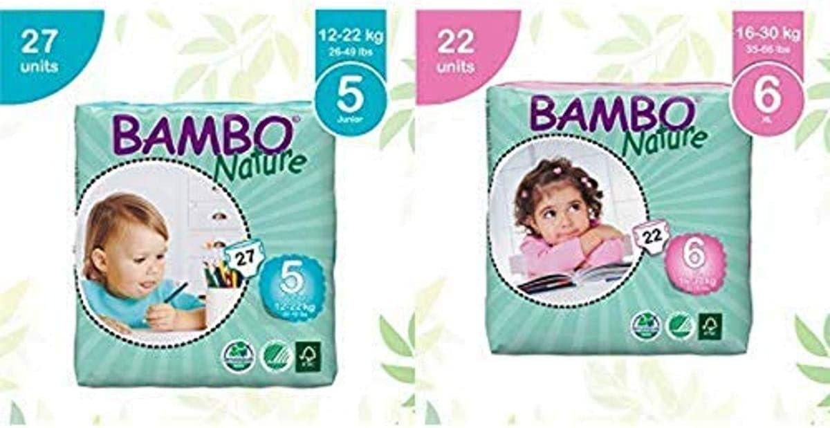Bambo Nature Eco Friendly Baby Diapers Classic for Sensitive Skin, Size 5 (26-49 lbs), 27 Count and Bambo Nature Eco Friendly Baby Diapers Classic for Sensitive Skin, Size 6 (35-66 lbs), 22 Count