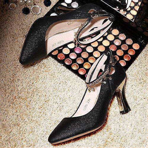 Medio Superficial De Zapatos verano Cm Boca Señaló Tacon Zapatos Mujer Alto Salvaje Mujeres Cuero Gtvernh 8 Rough Beige Tacón w08xqapSq