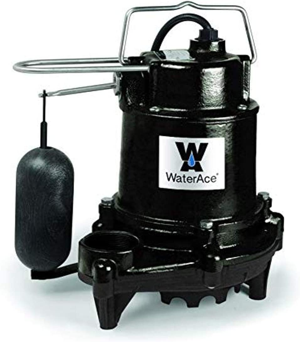WaterAce WA50SAS Sump Pump, 1/2 HP, Black