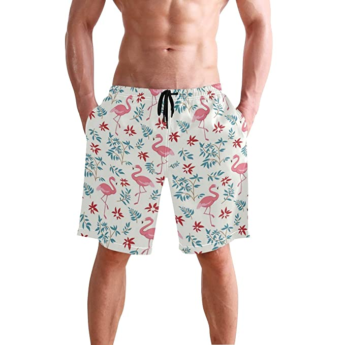 9994ede220 Image Unavailable. Image not available for. Color: Fuiyi Miyi Men's Swim  Trunks Flamingo ...
