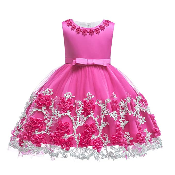 JIANLANPTT Baby Girl Flower Dresses Vintage Toddler Children Princess Party  Pageant Gown Dress 2-3Years aa649ae45638