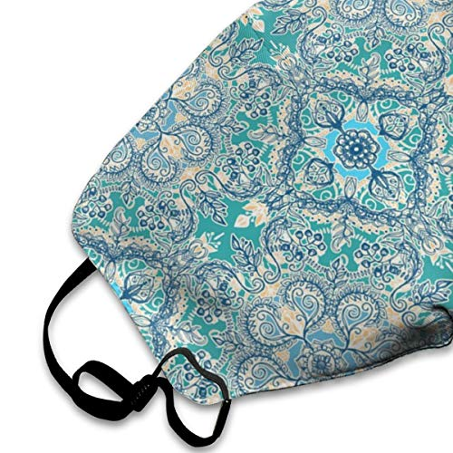 Floral in Teal Cream and Blue Anti-Allergens Earloop Face Masks for Boys Girls Adults, Neon Lights Polyester Mouth-Muffle for Dust, Medical,Cycling - Healthy