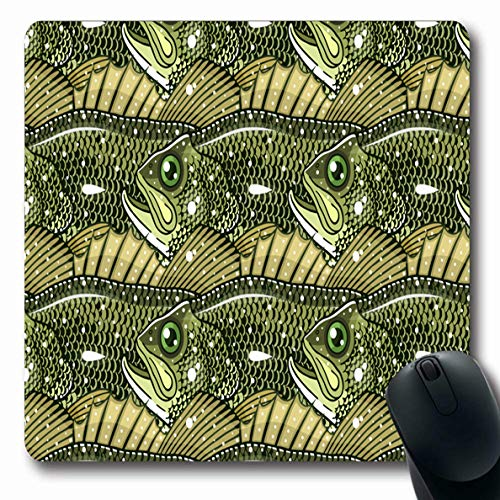 - Ahawoso Mousepads for Computers Fishing Angler Largemouth Bass Pattern Fish Fresh BigMouth Black Circle Color Drawn Design Engraving Oblong Shape 7.9 x 9.5 Inches Non-Slip Oblong Gaming Mouse Pad