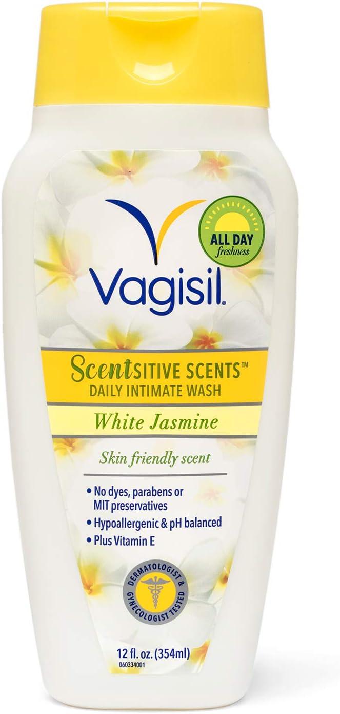 Vagisil Scentsitive Scents Daily Intimate Feminine Vaginal Wash, White Jasmine, 12 Fluid Ounce