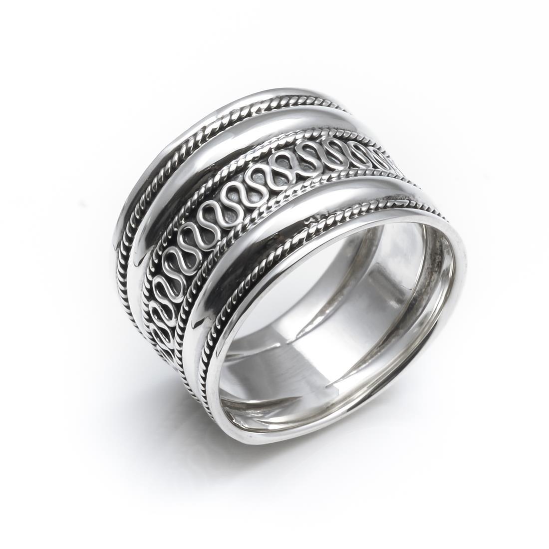 Silverly Anillo en Plata de Ley .925 Mujer Hombre Unisex Grueso Ancho Banda 18 mm Estilo Bali