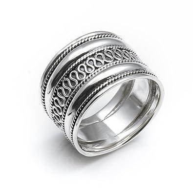 84a67f661e50 Silverly Anillo de Plata 925 Mujer Hombres Unisex Banda 18 mm Estilo de  Bali  Amazon.es  Joyería