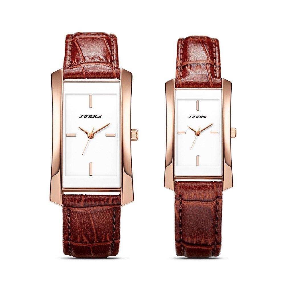 SINOBI Women Brown Leather Wristwatch, Business Casual Lady Men Designer Simple Rectangular Watch (Brown-CP)