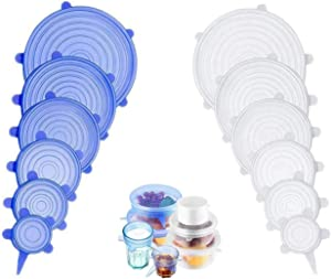 Silicone Stretch Lids, Universal Suction Lid-bowl Spill Stoper Cover Reusable Durable Food Storage Covers 12 Pack, Expandable to Fit Many Container Sizes & Shapes