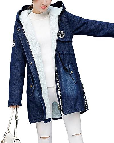 Mujer Espesar Calor Chaqueta De Mezclilla Con Capucha Manga Larga Con Cinturón Mezclilla Azul S