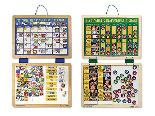 Melissa & Doug Kids' Magnetic Calendar and Responsibility Chart Set With 120+ Magnets to Track Schedules, Tasks, and Behaviors - Chart Doug Responsibility Magnetic