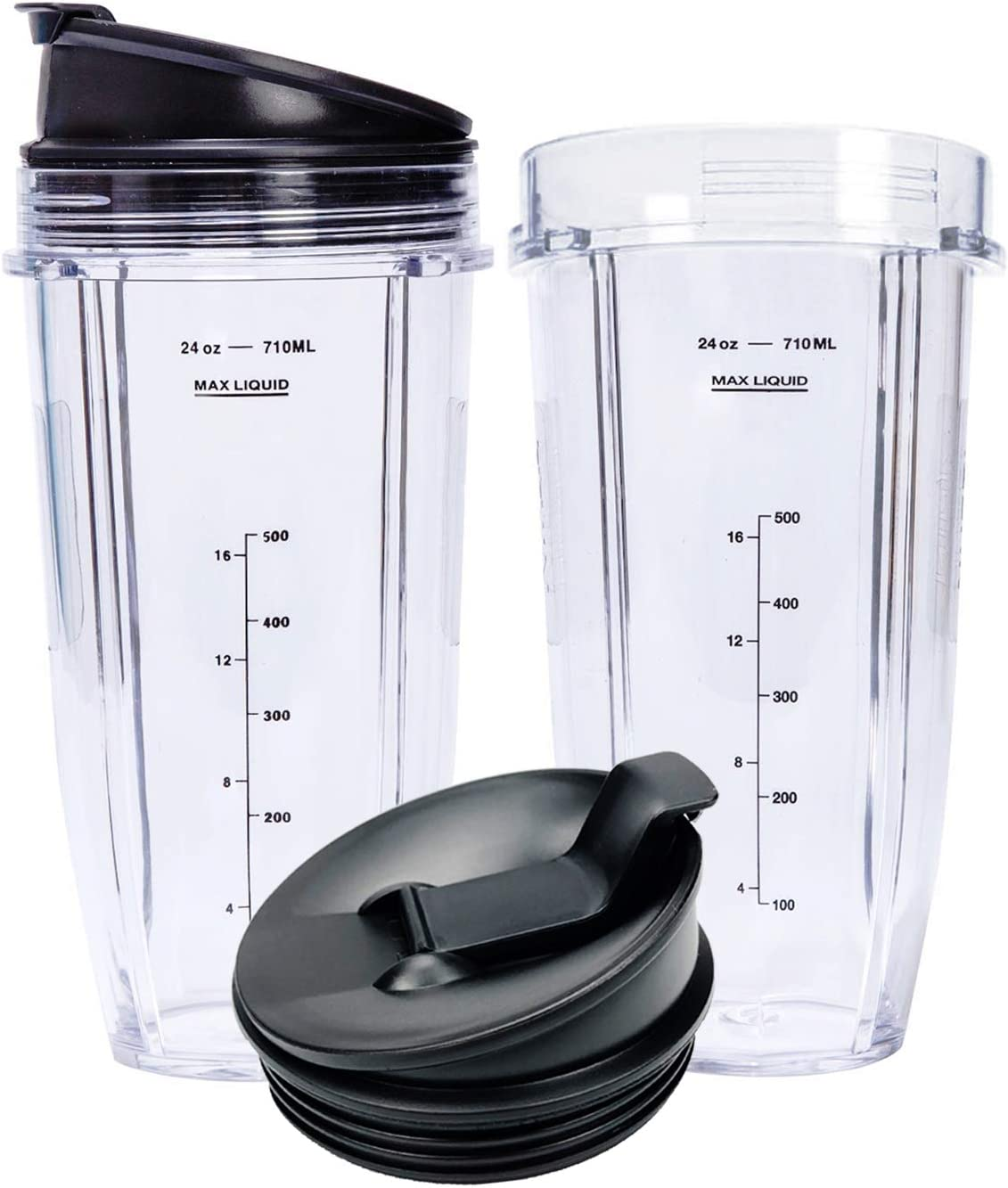 Replacement Blender Cups with Flip Top To Go Lid 24 oz Smoothie Cups 2 Pack for Nutri Ninja Auto IQ Series Blender Cross Blade BL2012, BL2013, BL480, BL487, BL487A, BL488W NN100, NN100A, NN101, NN102