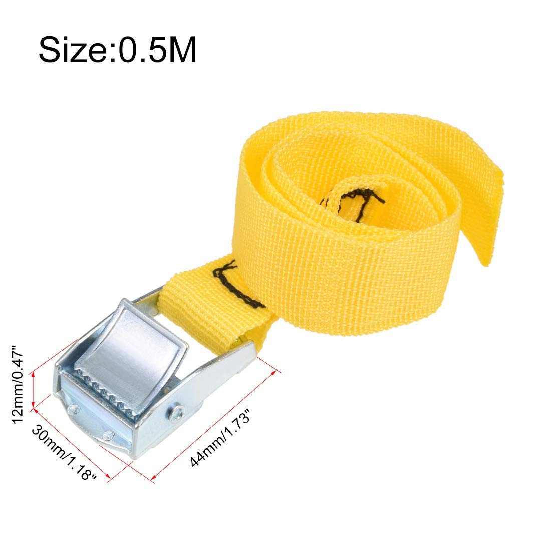 0.5M x 25mm Tie Down Strap Cargo Tie Down Straps with cam Lock Buckle 250Kg Workload 2 Pieces Yellow