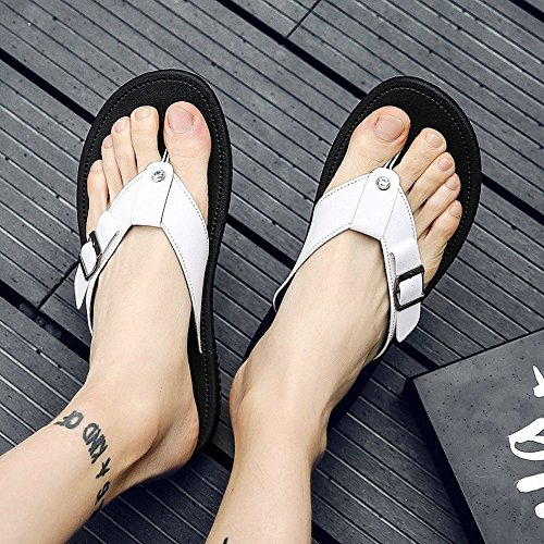Non Black Outdoor HUO Splice EVA Fashion White UK7 Sole slip Sandals Slippers And Men 2 White 2 Summer CN41 Size EU40 Shoes Beach White Color Simple AtqY6ndn