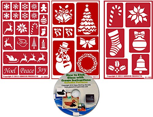 Christmas Stencil (3) Pack , Over N Over Reusable + How to Etch CD by Armour