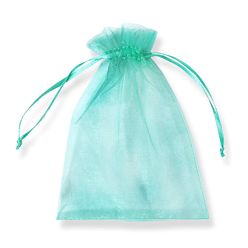PLECUPE 100 Pcs Bolsa Organza Organza Bags, 16x22cm Transparente Organza Joya Bolsas Fiesta de Boda Bolsas de Regalo - Verde#3