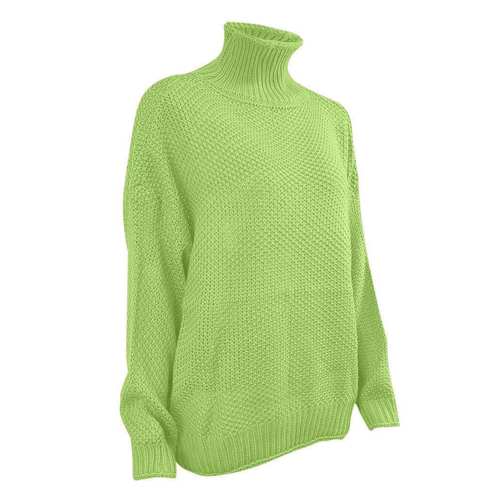 GiveKI Maglione Donna Sciolto Dolcevita Pullover Elegante Taglie Forti Maglioni Maglia Manica Lunga Maglia Cardigan Colletto Alto Vintage Autunno Inverno Casual Caldo Elasticizzato Knitted Sweater
