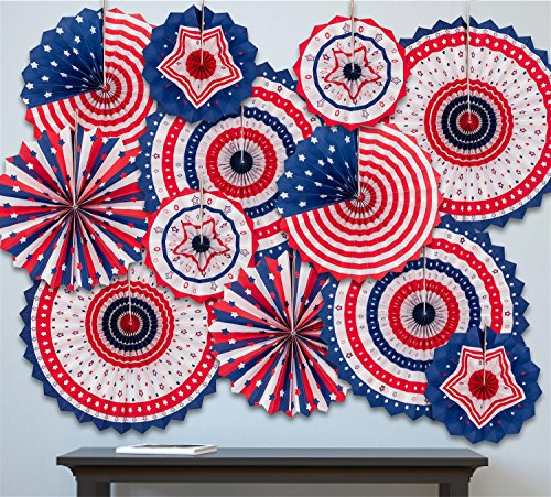4th/Fourth of July Patriotic Decorations - Red White Blue Hanging Paper Fans Party Decor Supplies