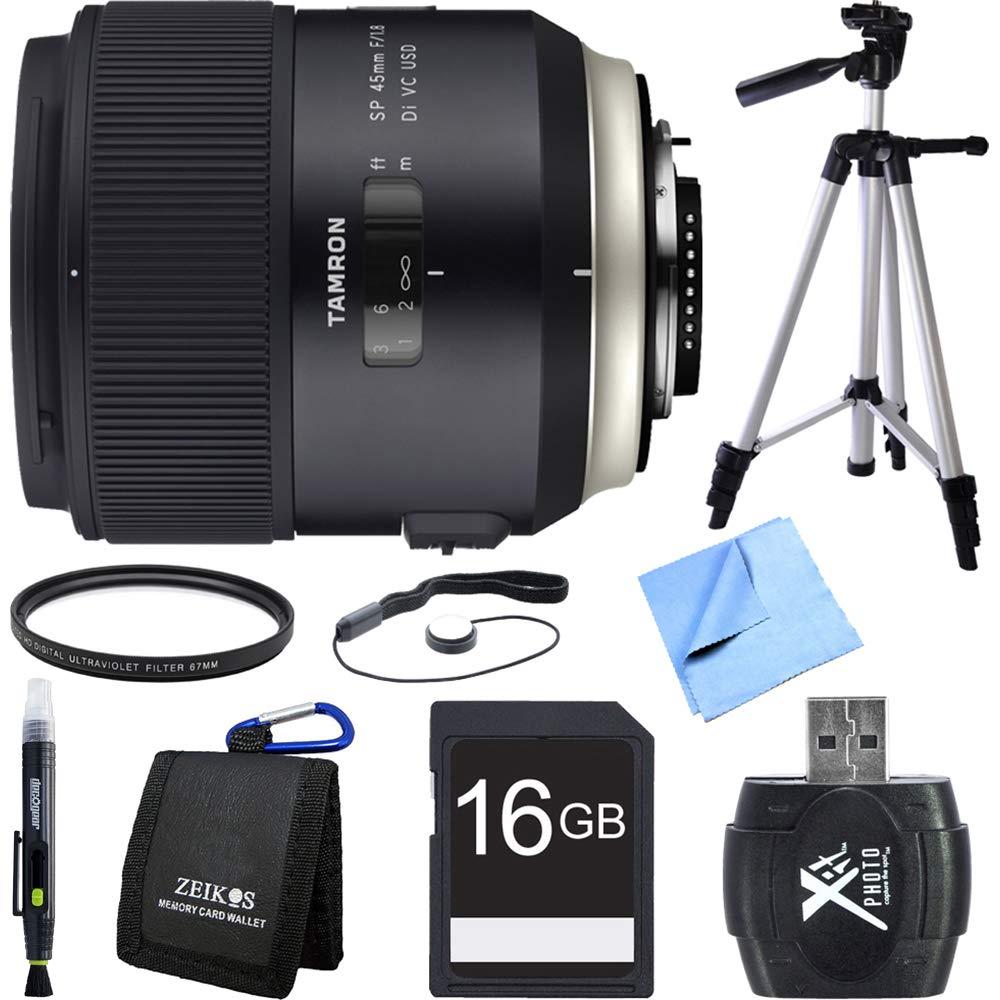 Tamron SP 45 MM F / 1.8 Di VC USDレンズfor Canon EOSマウントバンドルIncludesレンズクリーニングペン、16 GB SDHCメモリカード、財布、リーダー、レンズキャップキーパー、ビーチ、三脚、67 mm UVフィルタ、カメラ布   B014YX5N0K