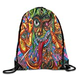 GGFUIS9 3D Print Illuminati 35 Shoulders Bag Women Fashion Backpack Girls Beam Port Drawstring Travel Shoes Dust Storage Bags