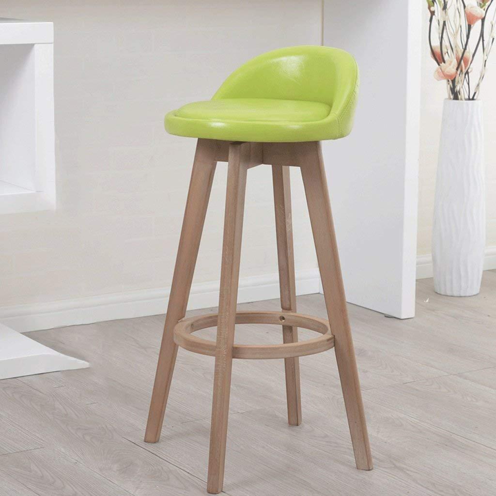 63cm DYR Solid Wood Bar Chair Green Soft Skin can redate The Stool Bar Chair Bar Chair Highchair (Size  63 cm)