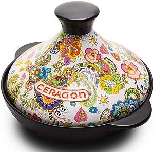 l.e.i. Ceramic Tagine,Multi-Function Casserole,Hand-Painted Clay Micro-Pressure Cooker,2L