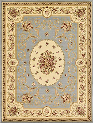 Unique Loom Versailles Collection Traditional Classic Light Blue Area Rug (9' 0 x 12' 0)