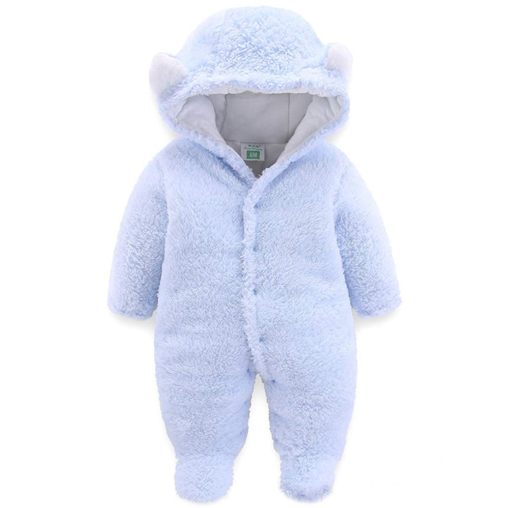 JiAmy Baby Winter Hooded Romper Fleece Snowsuit Boys Girls Warm Outfits 0-12 Months