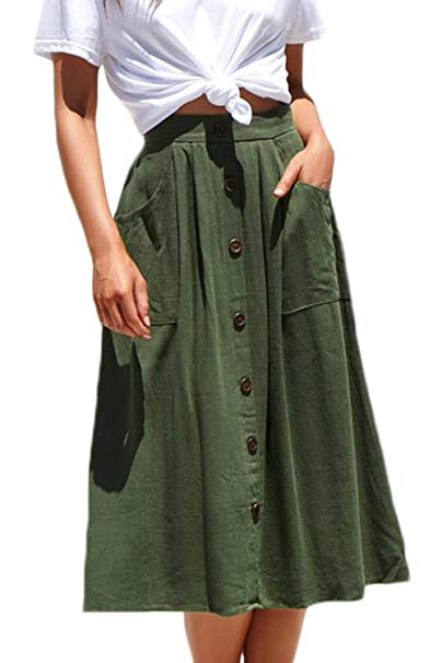bec24a2a87 Meyeeka Women Elastic High Waist A Line Skirt Skater Button Front Midi  Skirt with Pocket S