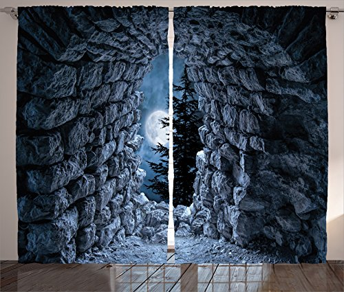 Ambesonne Dark Blue Curtains Gothic Decor, Cave with The Light of Full Moon at Night Scary Horror Medieval Gothic Theme Artwork, Living Room Bedroom Curtain 2 Panels Set, 108 X 84 Inches, Blue Grey -