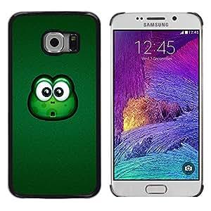 Paccase / Dura PC Caso Funda Carcasa de Protección para - Frog Big Eyes Green Animal Cartoon Friendly - Samsung Galaxy S6 EDGE SM-G925