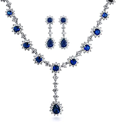 /'AAA/' GRADE BLUE CRYSTAL GLASS TEARDROP NECKLACE EARRINGS /& BRACELET SET