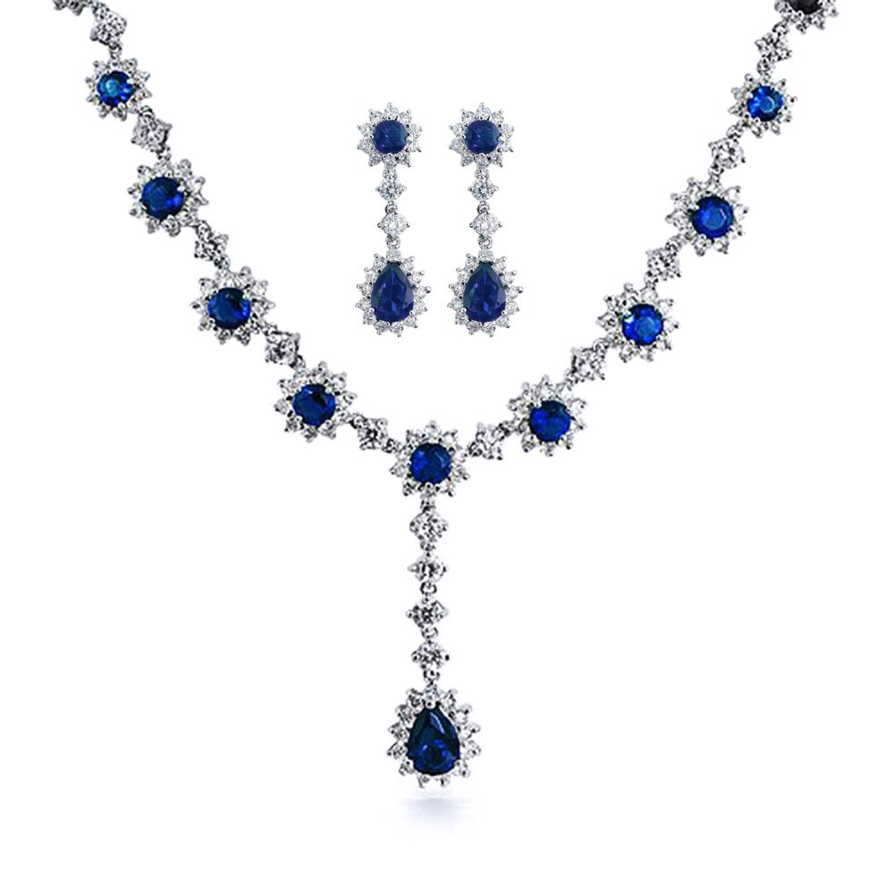 Bling Jewelry Round CZ Simulated Blue Sapphire Necklace Earring Set Rhodium Plated