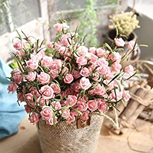 Artificial Flowers,Vibola® Artificial PE Rose Fake Flowers Fake Simulation Greenery Plants Indoor Outside Home Garden Décor (not include Vase) 96