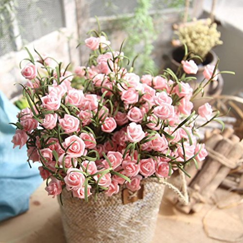 Artificial Flowers,Vibola® Artificial PE Rose Fake Flowers Fake Simulation Greenery Plants Indoor Outside Home Garden Décor (not include Vase) ()