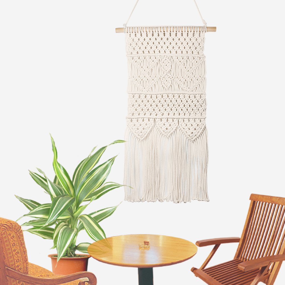 accmor Macrame Wall Hanging Fringe Garland Banner, Boho Shabby Chic Bohemian Wall Décor (13.4'' W x27.5 L, White) On Sell