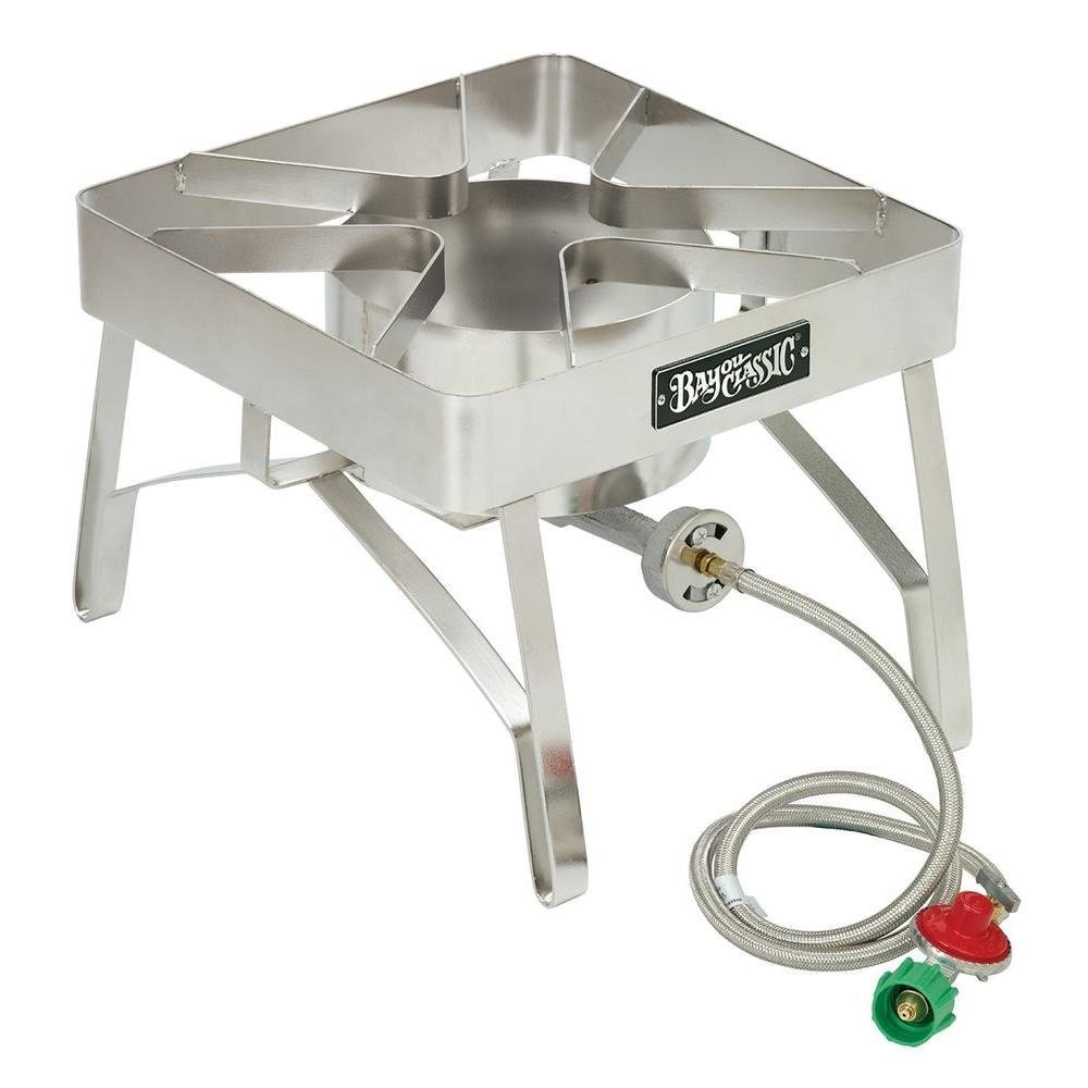 2. Bayou Classic SS84 Stainless Steel Brew Stove with Windscreen