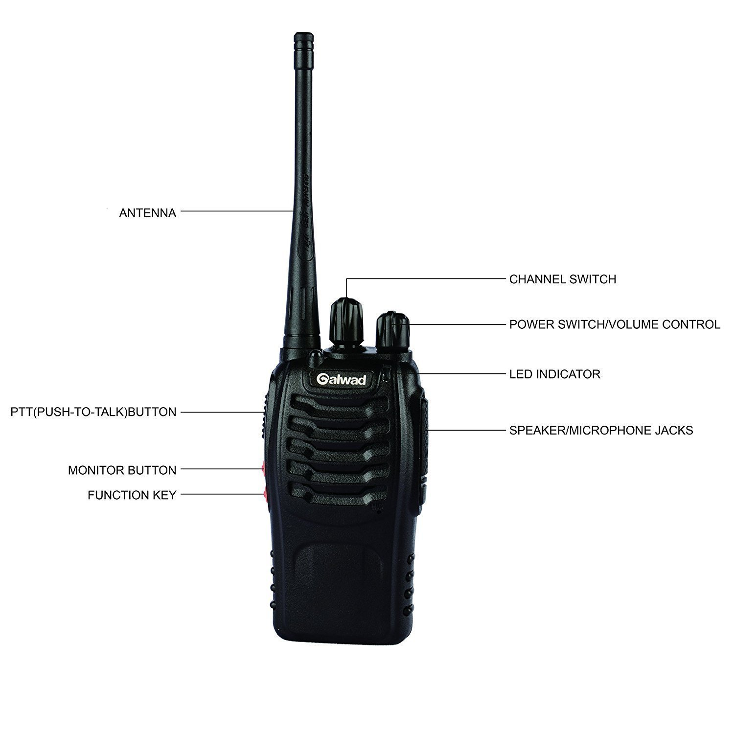 Galwad 888s Walkie Talkie 2pcs In One Box With Two Way Switch Indicator Rechargeable Battery Headphone Wall Charger Long Range 16 Channels Radio Radios