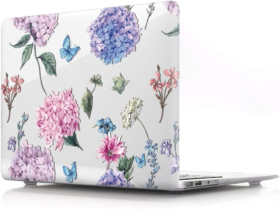 HRH Fashion Flower Clear Glossy Design Laptop Body Shell Protective PC Hard Case for MacBook Air 13.3