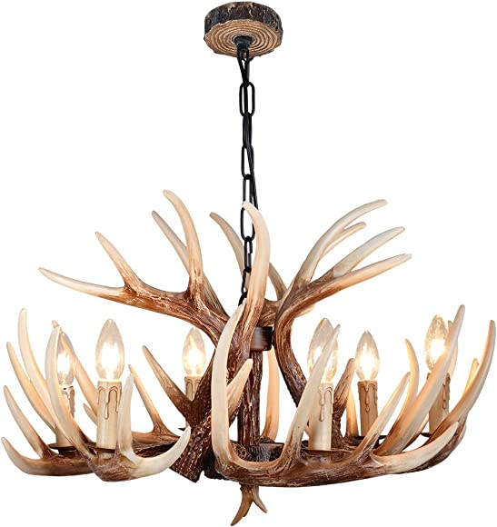 YHF Resin Antler Chandeliers Resin Antler Chandeliers 6 Light 24.4 Diameter 4 Feet Matching Chain Antique