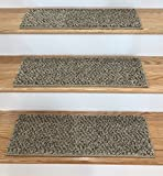 Tread Comfort Padded Adhesive Bullnose Stair Treads, Runners & Rugs Collection (27'' x 9'' Flat Stair Tread - 12 Pack, Beach)
