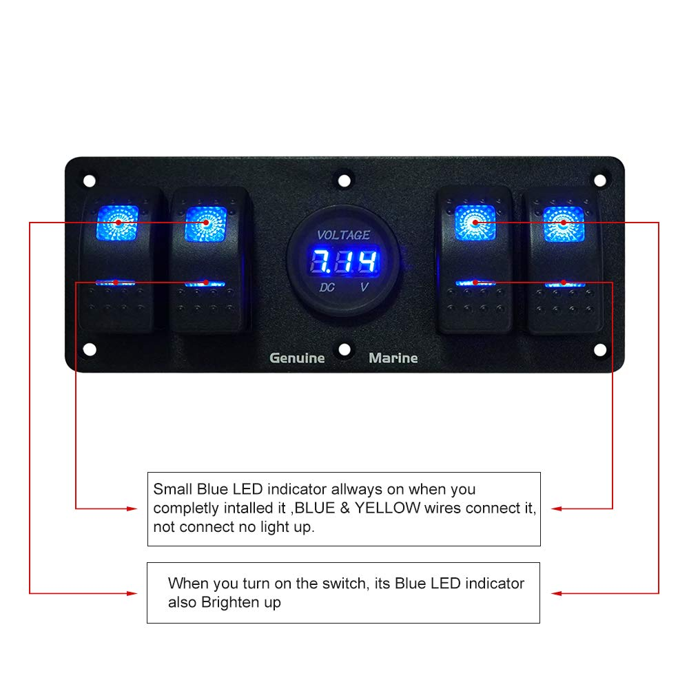 4 Gang Rocker Switch Panel with 12V Digital Voltmeter Display, 12V Marine Rocker Switches With Light Wiring Diagram on marine wiring light switch, marine grade rocker switches, marine led rocker switch, marine switch panel wiring diagram, marine rocker switches with light, marine rocker switch wiring, marine navigation lights wiring-diagram,