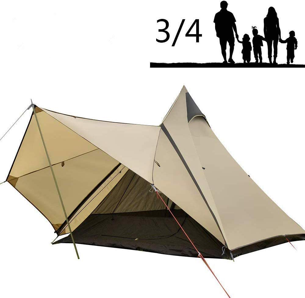 Camping Teepee Tent Yurt Tent with Screen 4 Season Double Layers Waterproof Anti UV Windproof Tents for Outdoor Camping Hiking Hunting 3 4 Person
