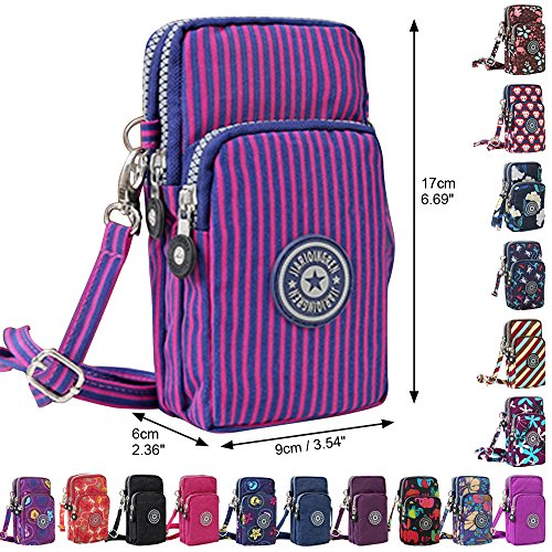 Cell Multifunction Phone Bag Mini Purple Wristlet Wocharm Handbags Crossbody Stripes Purse New qHE4nwa