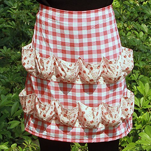 Hense Creative Egg Storage Apron with 12 Pockets to Hold Chicken Eggs Perfect for Farmer House-Hold Clever Housewife Must Have Apron HSW-030-005 red/White Checks with Pink Floral ()