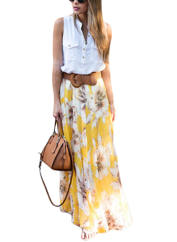 Asvivid Women's Summer Bohemian Floral Elastic Waist Chiffon Casual Maxi Skirt Large Yellow