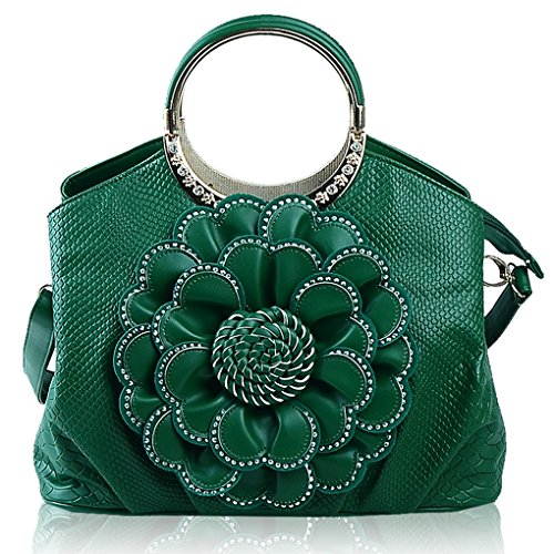 Ladies Flowers Shoulder Pu Shopper Bags Chic Tote Handbags Crossbody Green Messenger Elegant Girls Womens Leather Kaxidy TOYd7T
