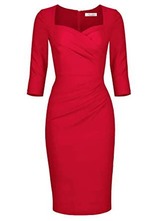 a4d940a484 Newdow Lady Celebrity Classic Pleated Inspired Pencil Dress at ...