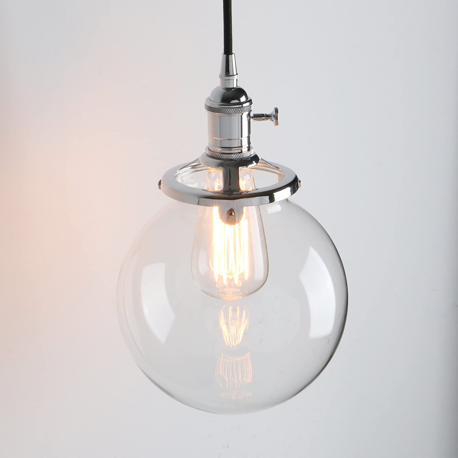 Pathson Industrial Modern Vintage Edison Hanging Light Fitting Pendant Ceiling Lights Lamp Fixture Chandelier With Clear Globe Glass Shade For Loft