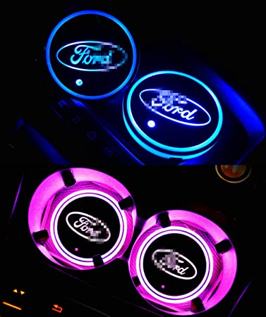 Goodream 2pcs Car Cup Holder Lights LED Logo Coaster Luminescent Pad Interior Atmosphere Lamp with 7 Colors Changing USB Charging